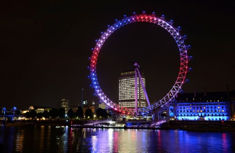 Royal baby born. The London Eye celebrates birth of the Duke and Duchess of Cambridge's son by lighting up red, white and blue, London. Picture date: Monday July 22, 2013. Photo credit should read: Doug Peters/PA Wire URN:17126873 (Press Association via AP Images)