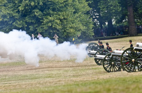 The Kings Troop Royal Horse Artillery fire a 41 Gun Salute in Green Park to celebrate the birth of the Royal baby Catherine Duchess of Cambridge gives birth to a baby boy, London, Britain - 23 Jul 2013 (Rex Features via AP Images)