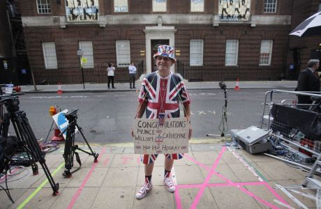 Terry Hutt stands across from the Lindo Wing of St. Mary's Hospital. (Rex Features via AP Images)