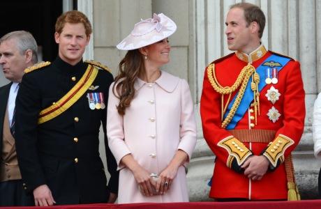 The Duke and Duchess of Cambridge with Prince Harry at Trooping the Colour this past June for the Queen's birthday.