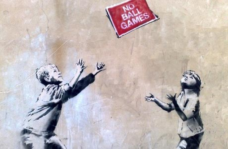 "The Banksy mural ""No Ball Games"" has been sneakily removed for sale. (XX)"