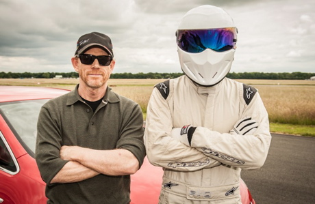 Ron Howard, left, crosses arms with The Stig. (BBC AMERICA)