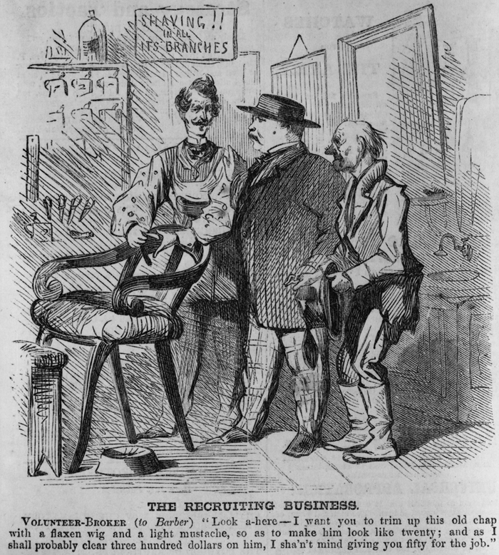 Harper's Weekly Cartoon portraying a volunteer broker trying to pass an old man as a healthy recruit.  (via http://hdl.loc.gov/loc.pnp/cph.3c32935)