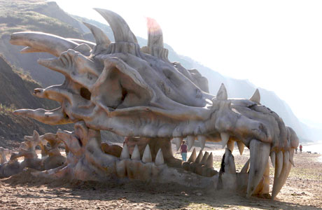 The 'Game of Thrones' dragon skull in Lyme Regis, Dorset
