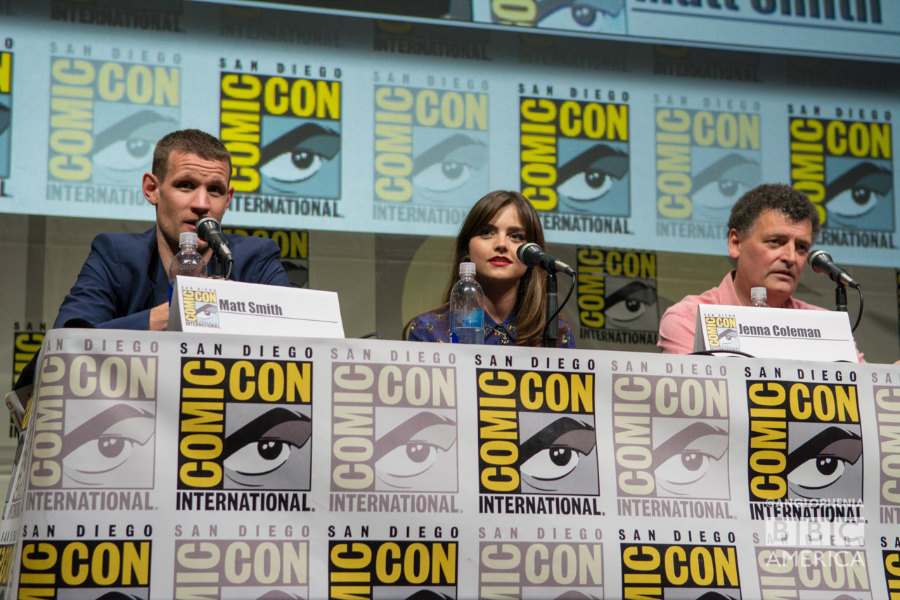 Matt Smith, Jenna Coleman and Steven Moffat at the 'Doctor Who' 50th Anniversary panel at San Diego Comic-Con. (Photo: Dave Gustav Anderson)