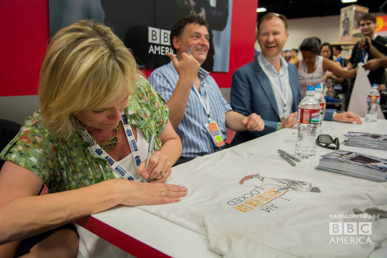 Sue Vertue, Steven Moffat, and Mark Gatiss at the 'Sherlock' signing at the BBC AMERICA booth. (Photo: Dave Gustav Anderson)
