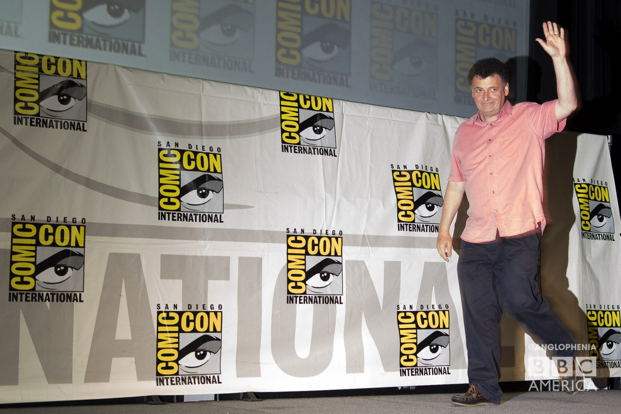 Steven Moffat enters the stage at the San Diego Comic-Con panel. (Photo: Dave Gustav Anderson)
