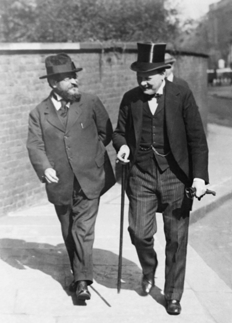 1920, Winston Churchill (right) and Albert Thomas leaving 10 Downing Street. (AP)