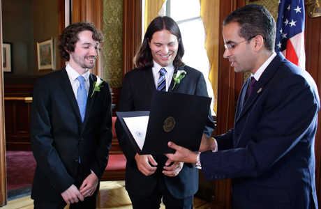 Same-sex marriages started taking place in Rhode Island back in this month (August 1). These marriages are now recognized by the federal government due to the Supreme Court's repeal of the Defense of Marriage Act. (Photo: Steven Senne/AP)