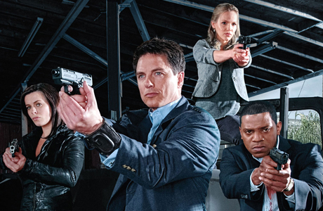 From left: Eve Myles, John Barrowman, Alexa Havins, and Mekhi Phifer in 'Torchwood: Miracle Day' (Photo: BBC)
