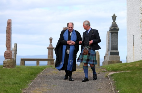 Royal visit to Scotland. The Prince of Wales with minister Mr Lyall Rennie (left) arriving for a church service at Canisbay Church, Caithness. Picture date: Sunday August 4, 2013. Photo credit should read: Andrew Milligan/PA URN:17235389 (Press Association via AP Images)