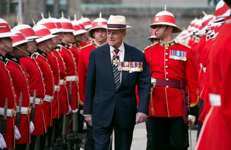 Prince Philip inspects an honor guard from the 3rd Battalion of The Royal Canadian Regiment at the Ontario Legislature in Toronto on Saturday April 27, 2012. (AP Photo/The Canadian Press, Frank Gunn)