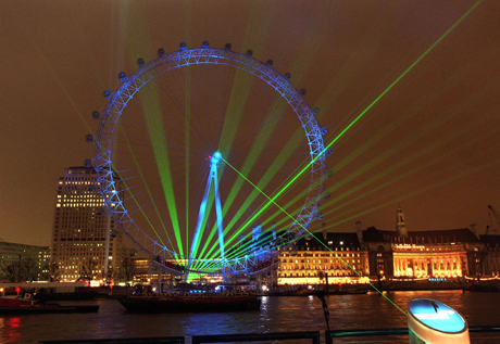 New Year's Eve is kicked off with a laser light show, 1999. (AP)