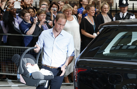 Prince William practiced buckling in the car seat before the big day. (AP)