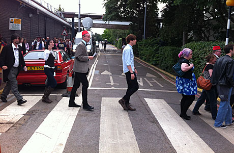 "The Second Doctor, Sarah Jane Smith, The Eleventh Doctor and friends recreate the cover of ""Abbey Road"", at Elstree Studios earlier today."