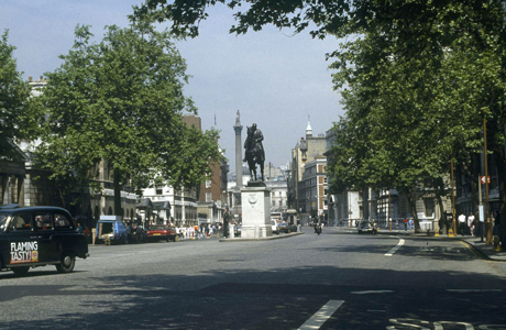This is Whitehall in London, looking toward the Cenotaph and Trafalgar Square, 1986. (AP Photo)