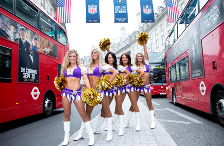 Minnesota Vikings cheerleaders hit Regent Street for the NFL game between the Vikings and the Steelers at Wembley on Sunday (September 29). (Photo: Press Association via AP Images)