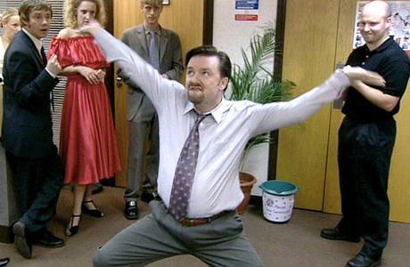 David Brent (Ricky Gervais) is not shy to dance in the office ... different rules for different people. (BBC)