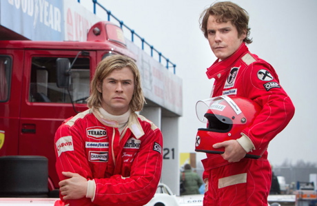 Chris Hemsworth (left) and Daniel Brühl in 'Rush' (Universal)