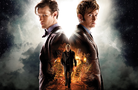 Matt Smith (top left), David Tennant, and John Hurt (center) in 'The Day of the Doctor' poster art. (Photo: BBC)