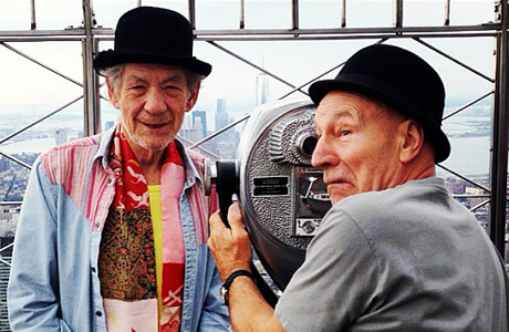 Sir Ian McKellen and Sir Patrick Stewart on the Empire State Building in NYC. (Photo via Ian McKellen's Instagram)