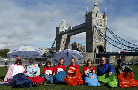 It's not a sleepover without fancy dress pajamas, London's South Bank. (AP)