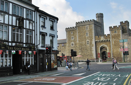 It's not common to see a pub and a castle in the same snap, Cardiff. (AP)
