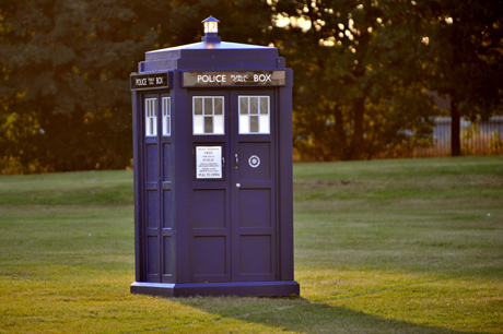 The TARDIS looks so unassuming on its own in Lydstep Park. (AP)