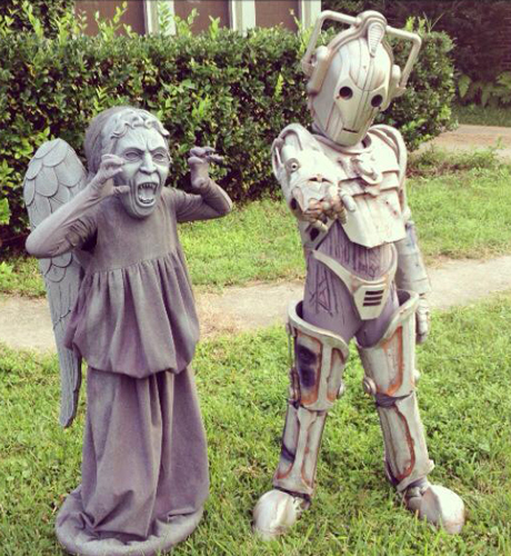 Heather Whitson Blackwell's lil' ones dressed as a mini Weeping Angel and Cyberman.