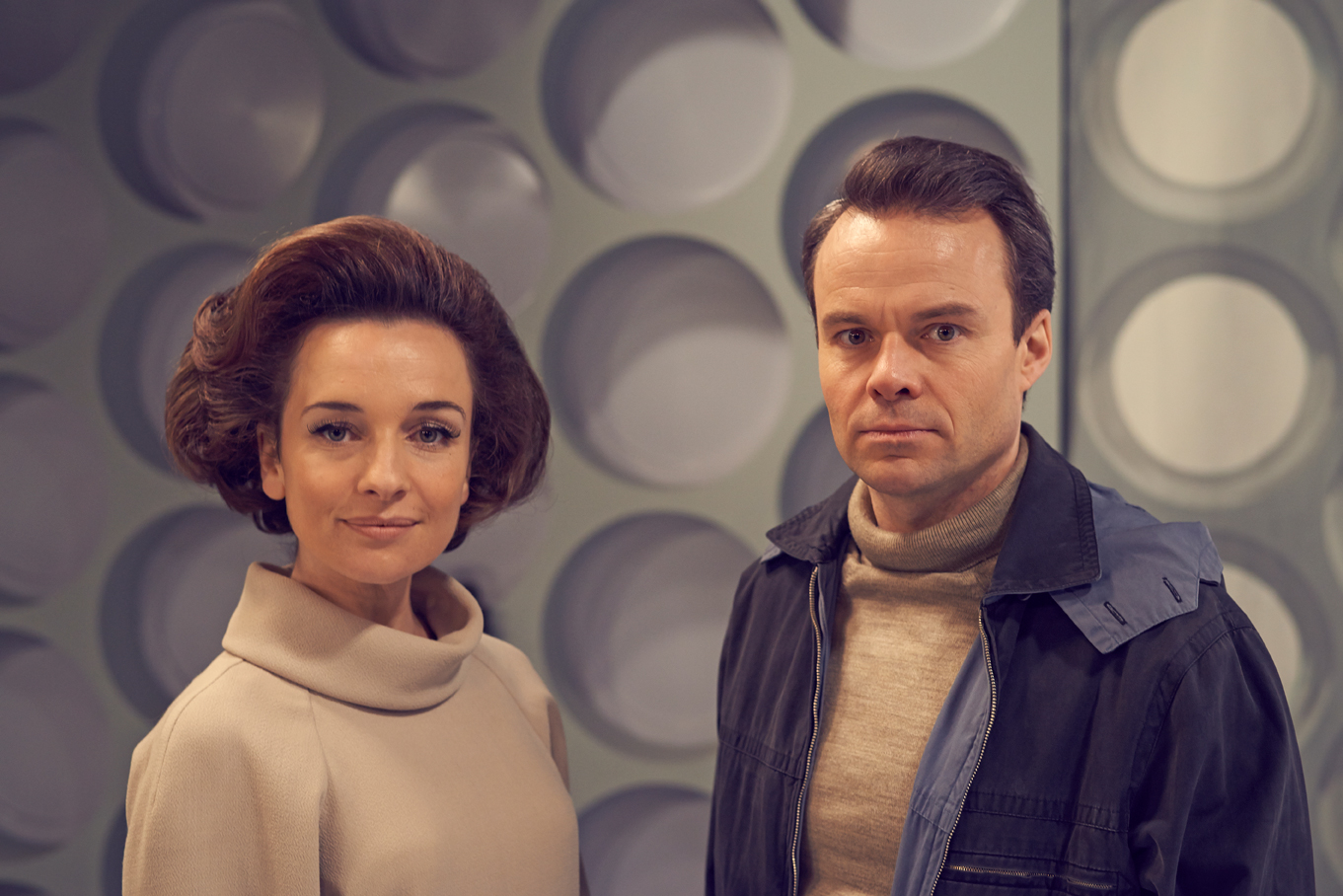 Jemma Powell as Jacqueline Hill (who played Barbara Wright) and Jamie Glover as William Russell (who played Ian Chesterton) in 'An Adventure in Space and Time' (Photo: BBC AMERICA)