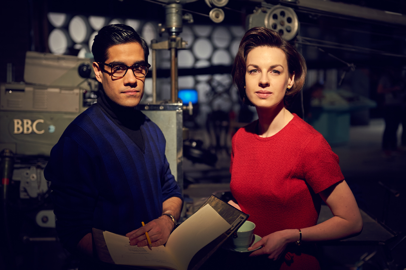 Sacha Dhawan as 'An Unearthly Child' director Waris Hussein and Jessica Raine as original 'Doctor Who' producer Verity Lambert in 'An Adventure in Space and Time' (Photo: BBC AMERICA)
