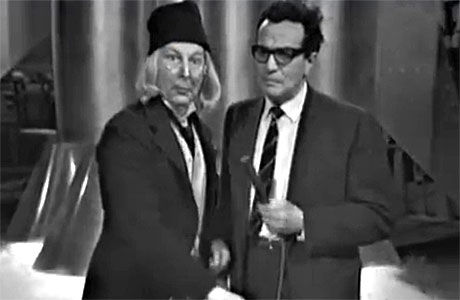 Clive Dunn as the First Doctor in the first Doctor Who spoof, with Michael Bentine in 1963.