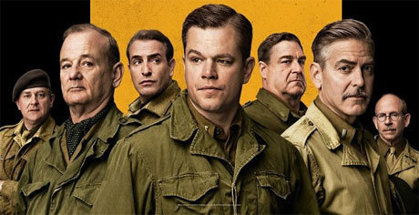 Hugh, Bill, Jean, Matt, John, George and Bill in 'The Monuments Men'