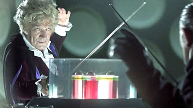 The Third Doctor fences with the Master