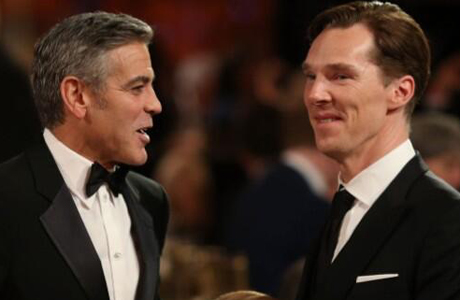 George Clooney catches up with Benedict Cumberbatch at the BAFTA LA Britannias Awards. (Photo via Bonnie Burton Twitter)