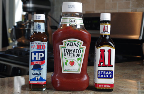 Brits are used to HP Sauce, but A1 can be a more than decent stand-in. (Better than slathering on ketchup.) (Photo via Mr. Breakfast)
