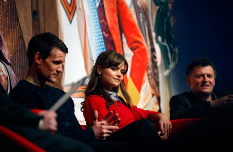 Matt Smith, Jenna Coleman, and Steven Moffat at 'The Eleventh Hour' panel at the Doctor Who Celebration in London.