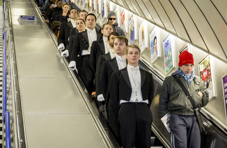 Downton Abbey-like butlers take the London tube by storm. (AP/Rex Features)