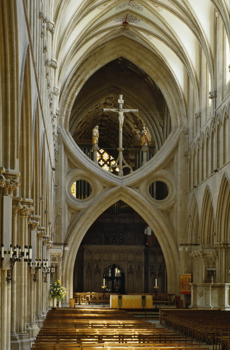 Scissor arch in Wells Cathedral, Somerset, England. (Photo by: Nigel Blythe/Robert Harding /AP Images)