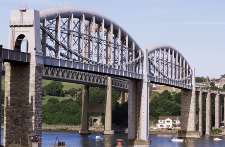 Saltash railway bridge over River Tamar, built by Brunel, Cornwall, England. (AP/Tony Waltham/Robert Harding)