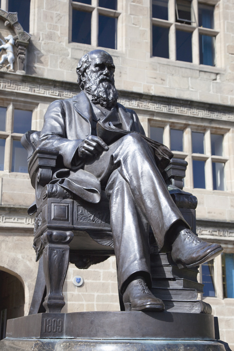 Statue of Charles Darwin outside Public Library, Shrewsbury, Shr (Peter Barritt/Robert Harding /AP Images)