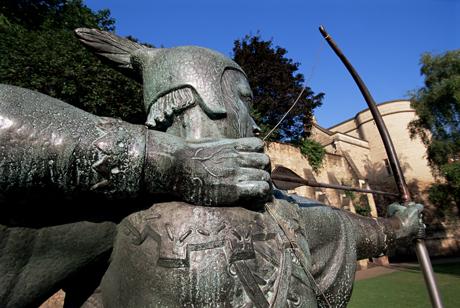 Statue of Robin Hood, Nottingham, Nottinghamshire, England(Neale Clarke/Robert Harding /AP Images)
