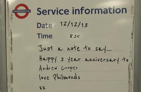 Tube Sign, Anniversary Announcement