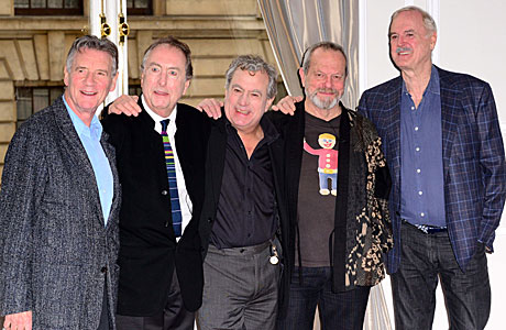 (l-r) MIchael Palin, Eric Idle, Terry Jones, Terry Gilliam, Terry Gilliam's T-shirt, John Cleese (Rex Features via AP Images)
