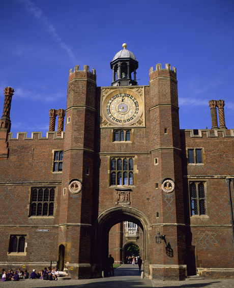 The astronomical clock is the focal point of Clock Court located inside of Hampton Court Palace located in London, England. (oy Rainford/Robert Harding /AP)