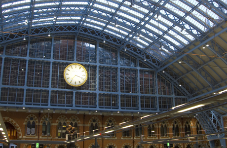 It's not a bad idea to have a hard-to-miss clock at every train station like this one at St. Pancras Station in London, England. (Ellen Rooney/Robert Harding /AP)