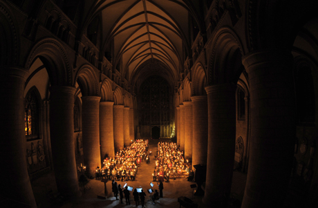 Christmas service at Cathedral. A candlelit Chirstmas service is held at Gloucester Cathedral. Picture date: Wednesday December 4, 3013. Photo credit should read: Tim Ireland/PA Wire URN:18387182