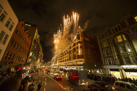 Harrods turn on Christmas lights  on Thursday, Nov 1, 2012 in London, UK. (Photo by Ki Price/Invision/AP)