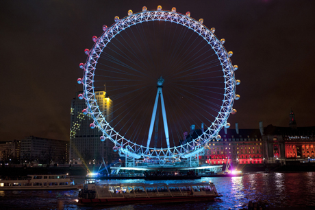 The London Eye is all sorts of lit up. (AP Images/Rex Features)