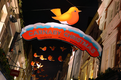Carnaby Street Robin Christmas Lights switched on with decorations in the shape of Xmas Robins Regent Street and Carnaby Street Christmas Lights switched on, London, Britain - 09 Nov 2013  (Rex Features via AP Images)